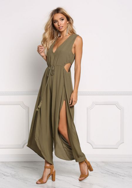 Olive Side Cut Out Leg Slit Jumpsuit