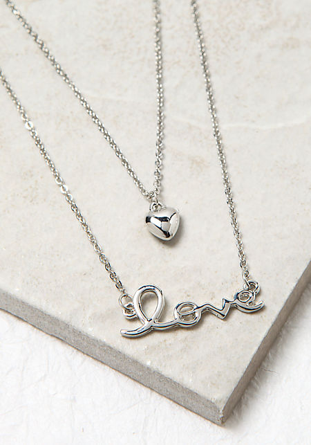 Silver Love and Heart Necklace