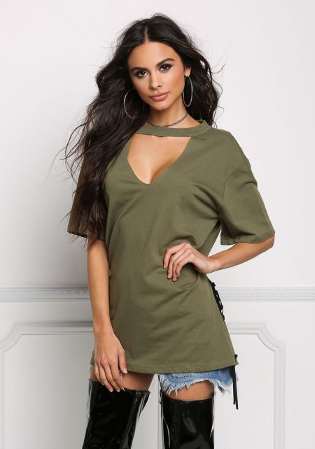 Olive Side Lace Up V Cut Tunic Top
