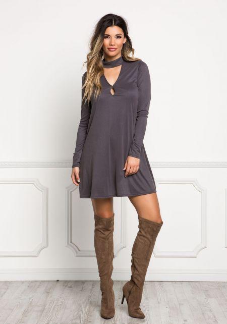 Charcoal Cut Out Choker Shift Dress