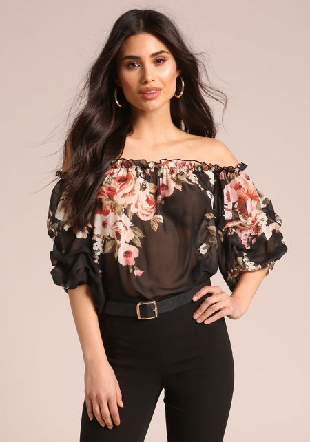 Black Rose Chiffon Off Shoulder Blouse