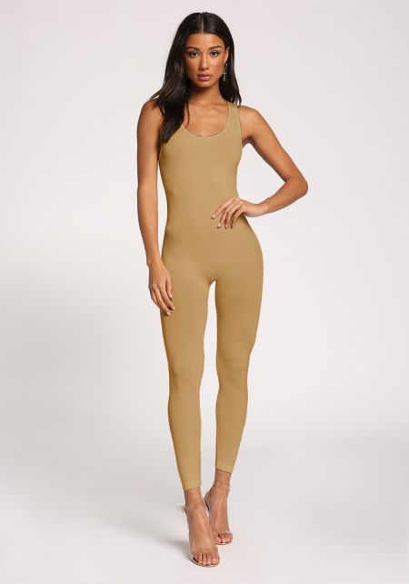 Khaki Scoop Leotard Jumpsuit