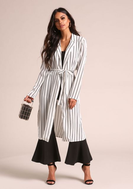 White Pinstripe Longlined Duster Jacket
