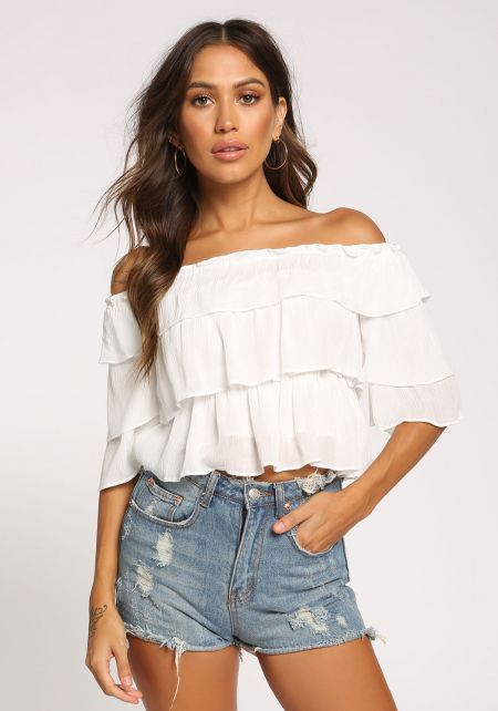 White Tiered Off Shoulder Crop Top