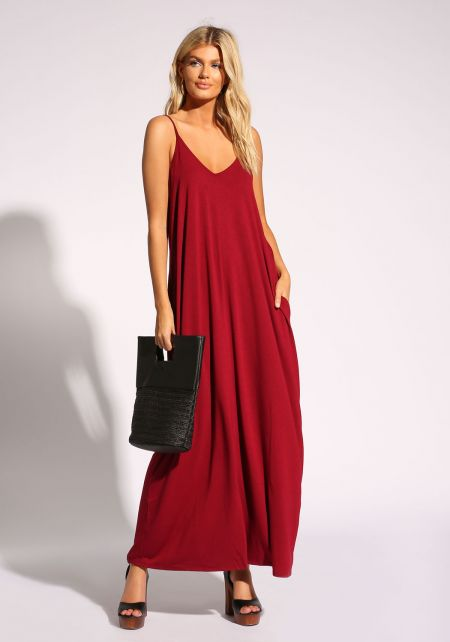 Ruby Jersey Knit Pocket Maxi Dress