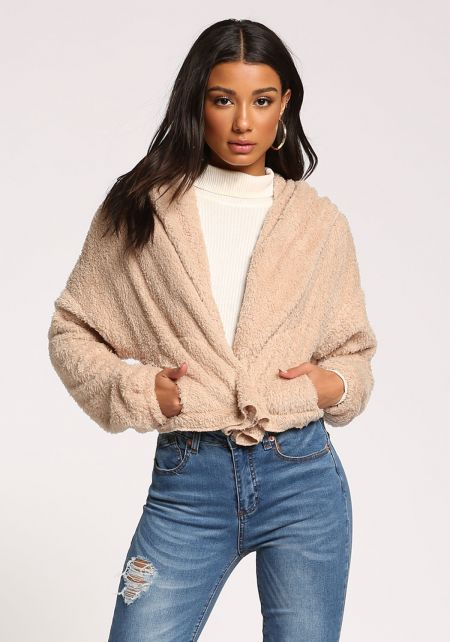 Beige Faux Fur Hooded Cropped Coat