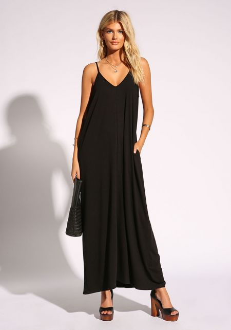 Black Jersey Knit Pocket Maxi Dress