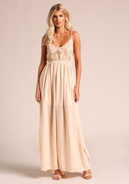 Nude Low Back Embroidered Maxi Dress