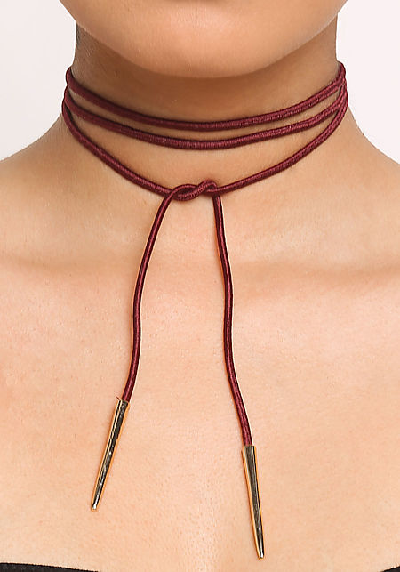 Burgundy Thin Wrap Around Choker