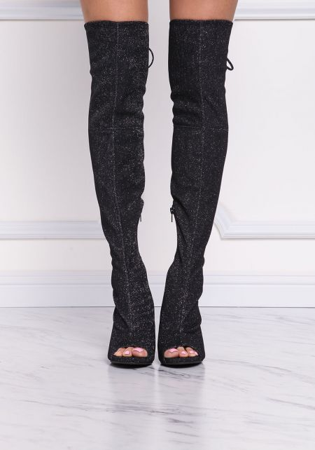 Black and Silver Shimmer Over The Knee Boots