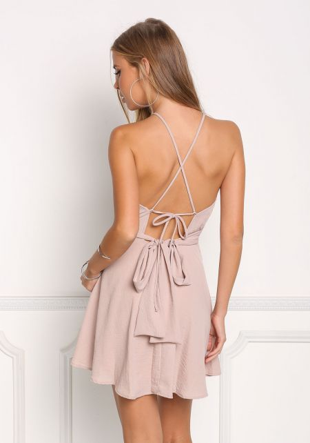 Mauve Cross Strap Cut Out Flared Dress
