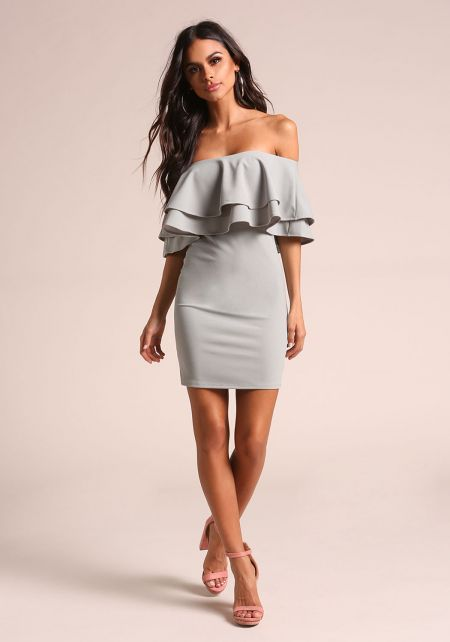 Sage Layered Off Shoulder Bodycon Dress