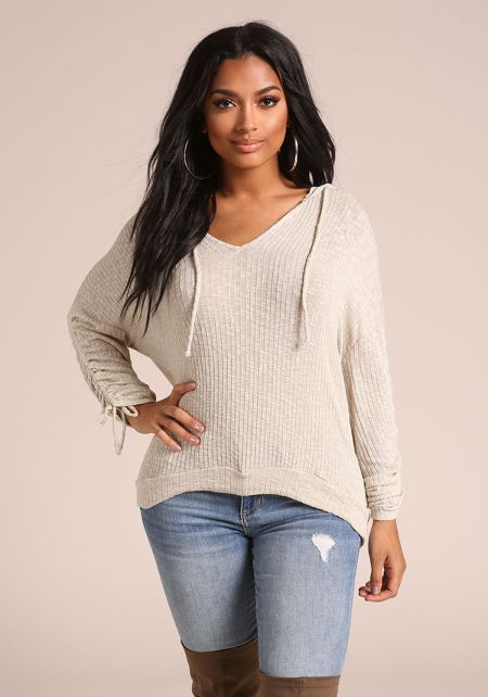 Sand Hooded Ruched Sleeve Top