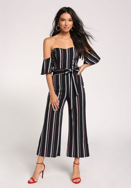 Navy Stripe Sweetheart Tie Front Jumpsuit