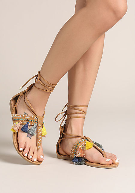 Camel Tassel Lace Up Thong Sandals