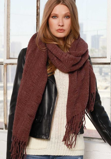 Wine Soft Thick Knit Scarf