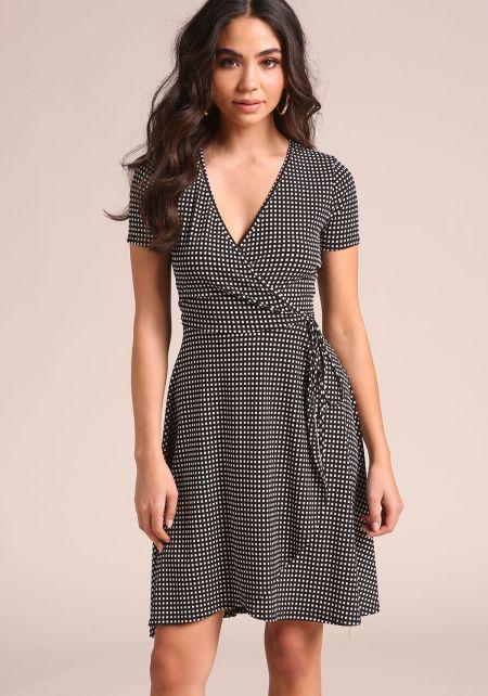 Black and White Grid Print Faux Wrap Dress