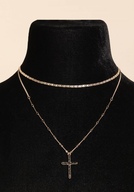 Black Rhinestone Cross Layered Necklace
