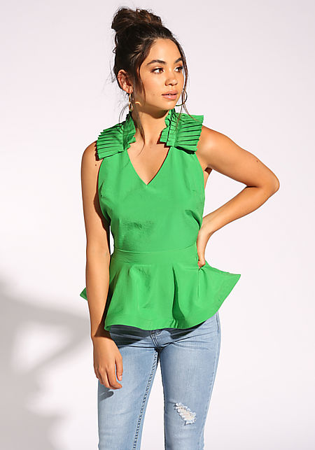 Green Pleated Peplum Halter Blouse
