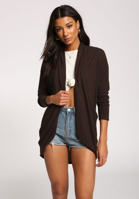 Charcoal Open Front Soft Knit Cardigan