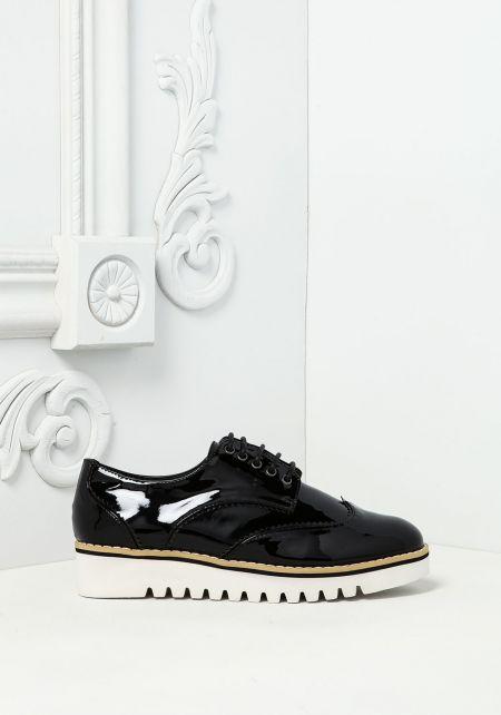 Black Patent Leatherette Platform Sneakers