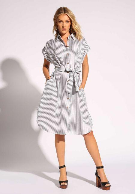 White Pinstripe Waist Tie Collared Dress