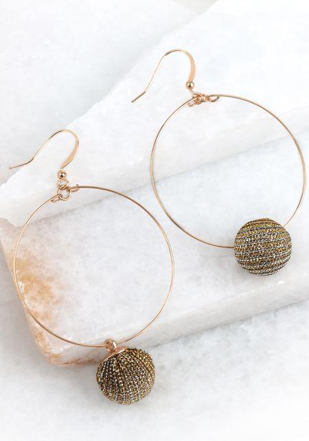 Bronze Pom Pom Hoop Earrings