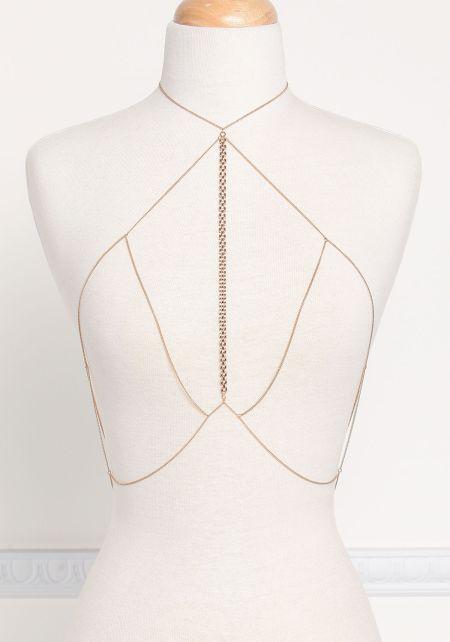 Gold Delicate Thin Chain Bralette