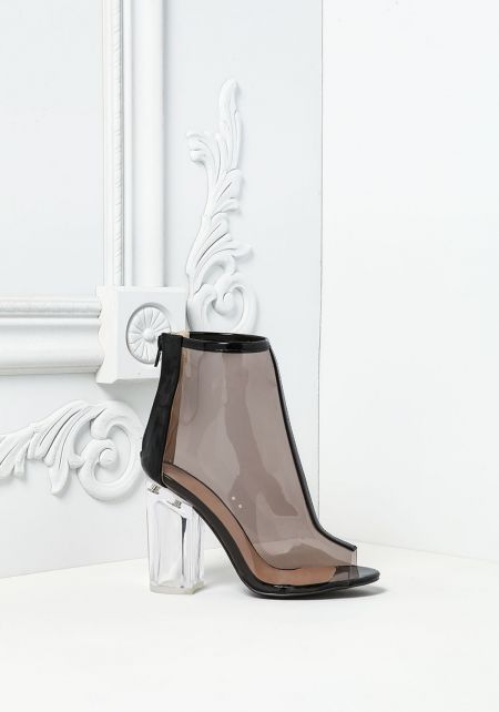 Black Perspex Peep Toe Booties