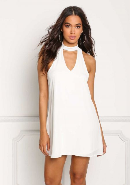 Off White Choker Cut Out Shift Dress