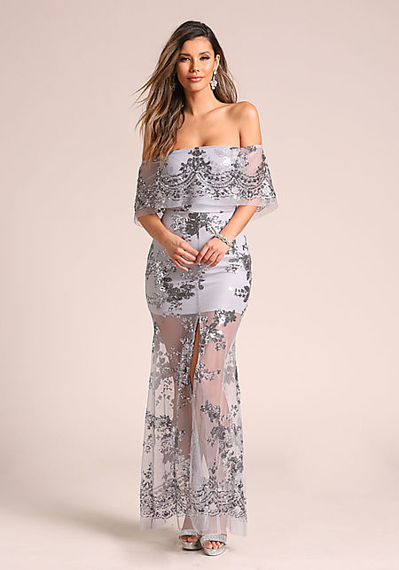Grey Sequin Tulle Off Shoulder Maxi Gown