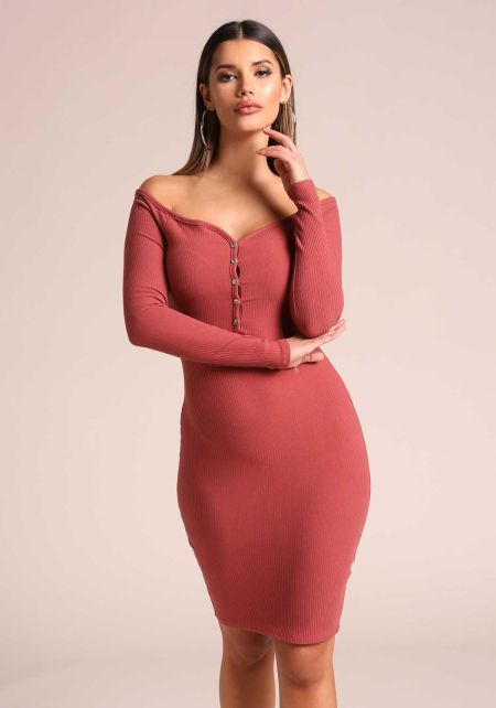 Mauve Off Shoulder Ribbed Knit Bodycon Dress