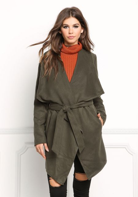 Olive Fold Over Cinched Trench Coat