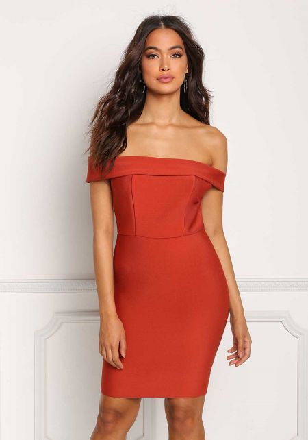 Rust Bandage Off Shoulder Bodycon Dress