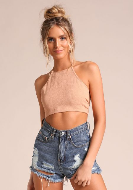 Apricot Smocked Tie Back Crop Top