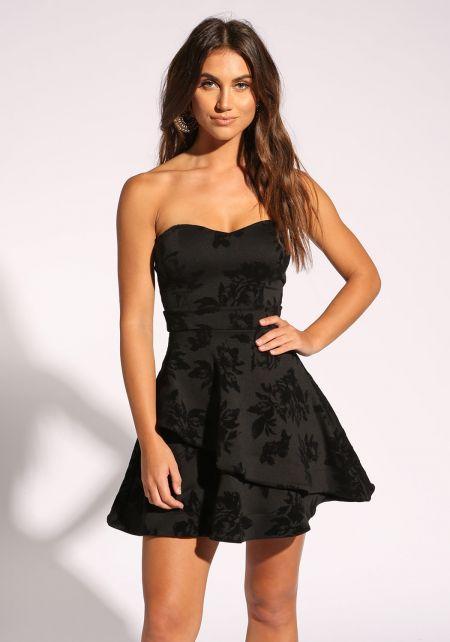 Black Floral Velour Strapless Flared Dress