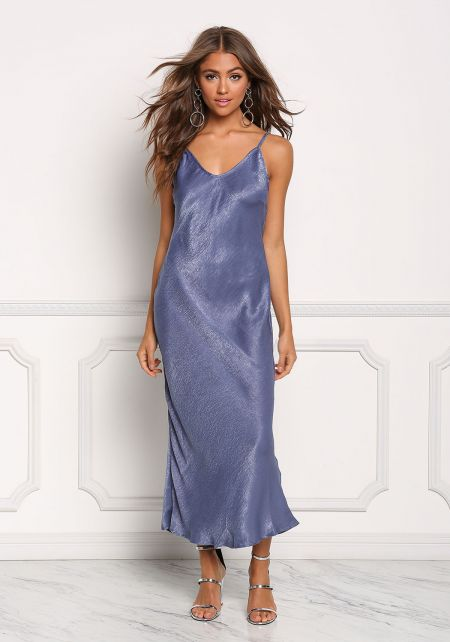 Blue Silky Slip On Maxi Dress