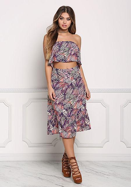 Multi Leaf Print High Waist Flare Skirt