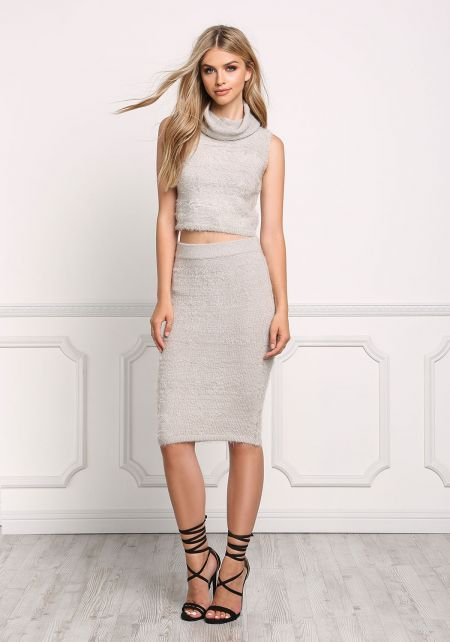 Light Grey Fuzzy Knit High Rise Skirt
