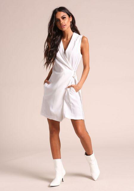 Off White Waist Tie Vest Dress