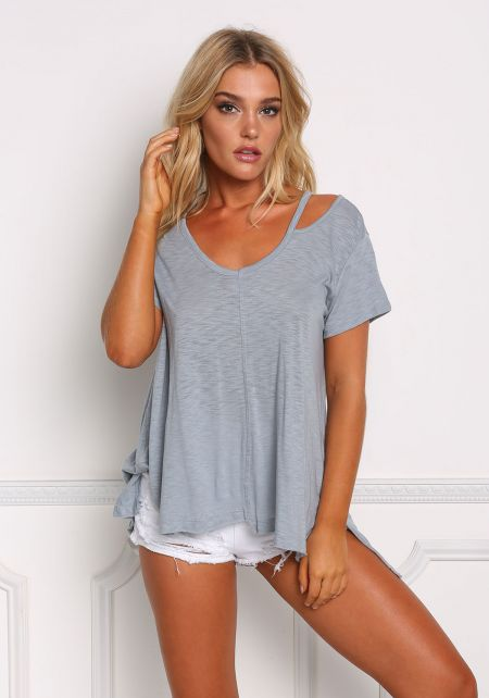 Dusty Blue One Strap Boxy Knit Tee