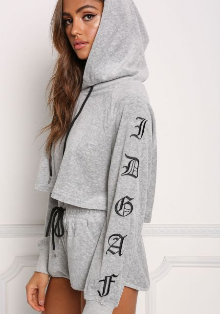 Heather Grey IDGAF Velvet Hoodie Crop Top