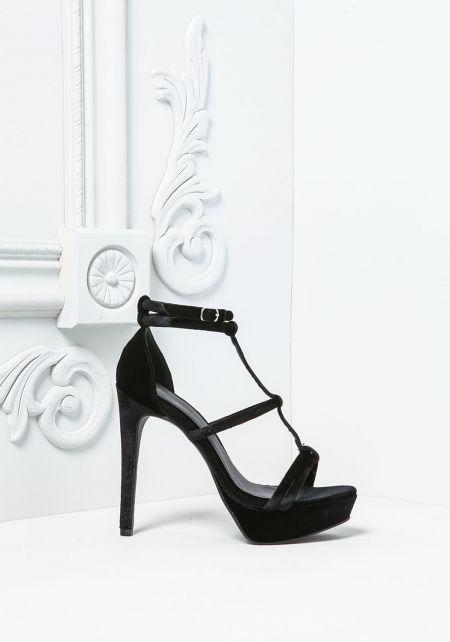 Black Velvet Double Ankle Strap Heels