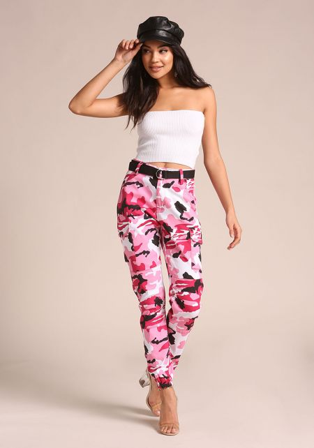 Pink Camo Belted Cargo Jogger Pants