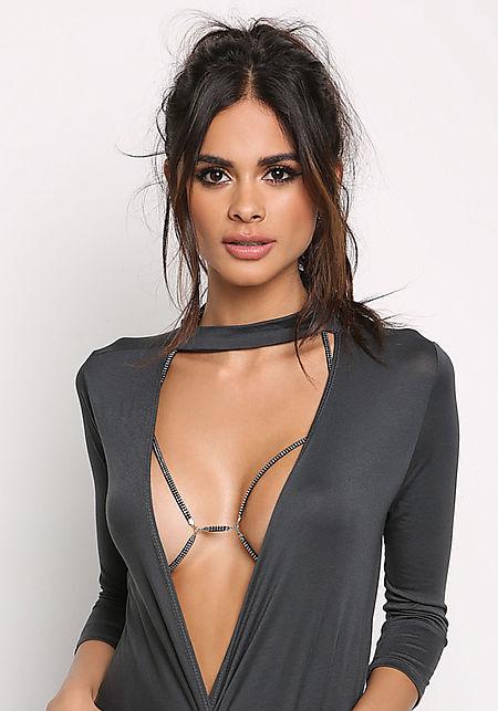 Black Studded Body Chain Bralette