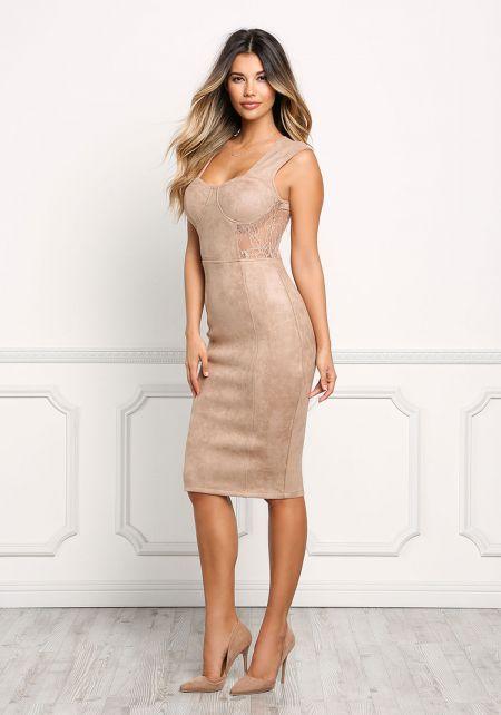 Taupe Velvet & Lace Trim Bustier Bodycon Dress
