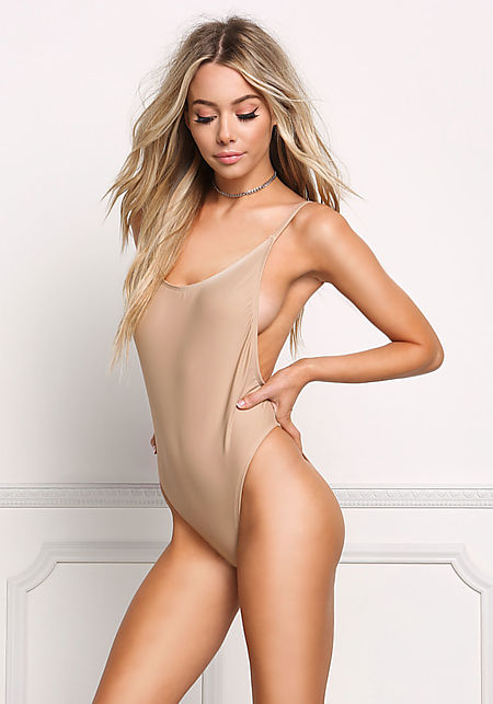 Beige Low Scoop Back Swimsuit Monokini