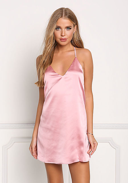 Pink Silky Strappy Shift Dress