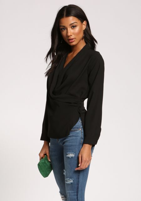Black Plunge Side Button Layered Blouse