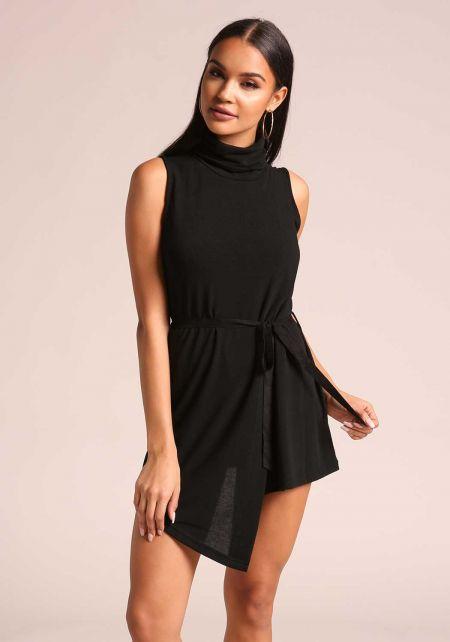 Black Asymmetrical Mock Neck Shift Dress